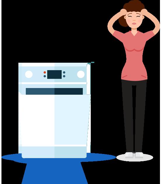 A broken dryer and a women