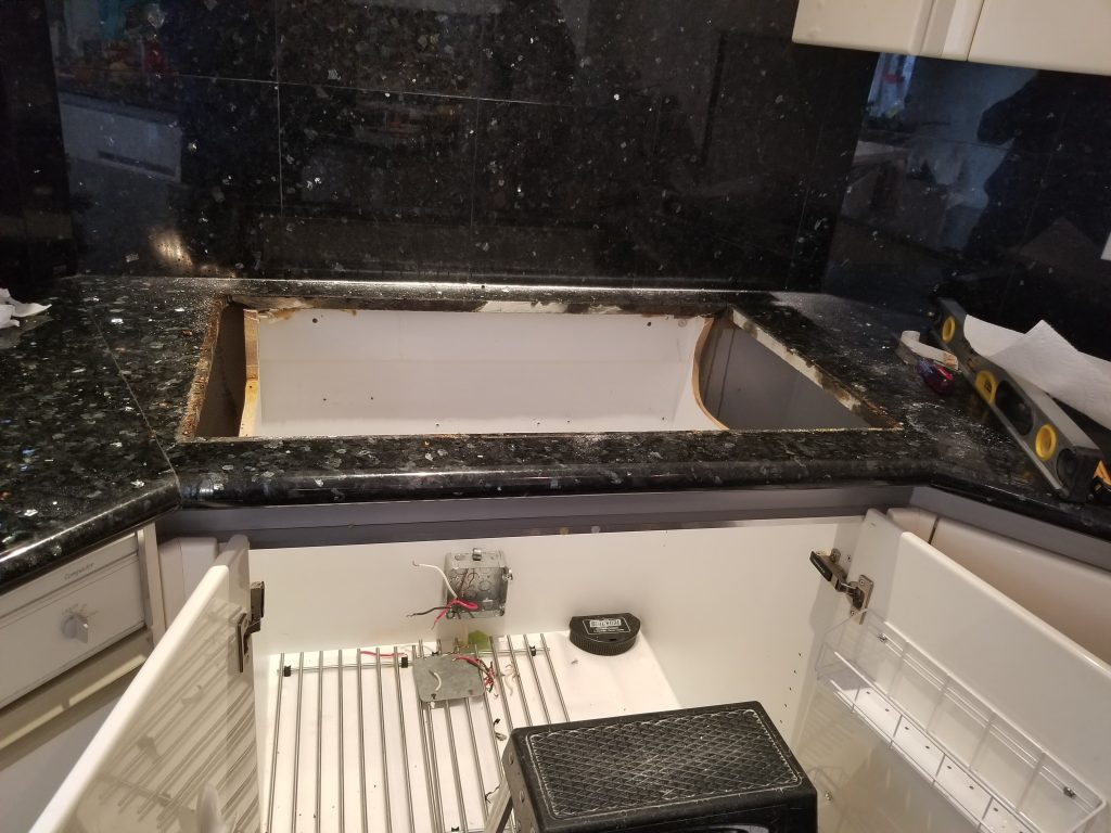 after cutting countertop for cook top installation