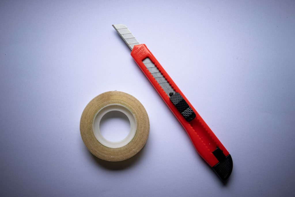 photo of tape and knife