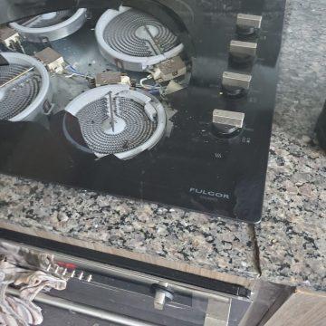 build in cooktop with broken glass repair